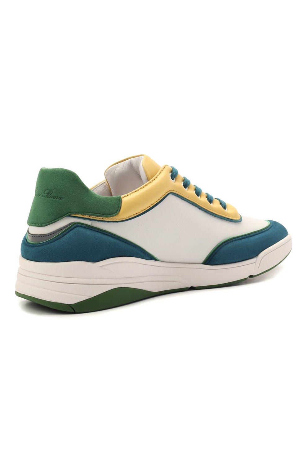 Женские кожаные кроссовки LORO PIANA зеленого цвета, арт. FAL2810   Фото 4