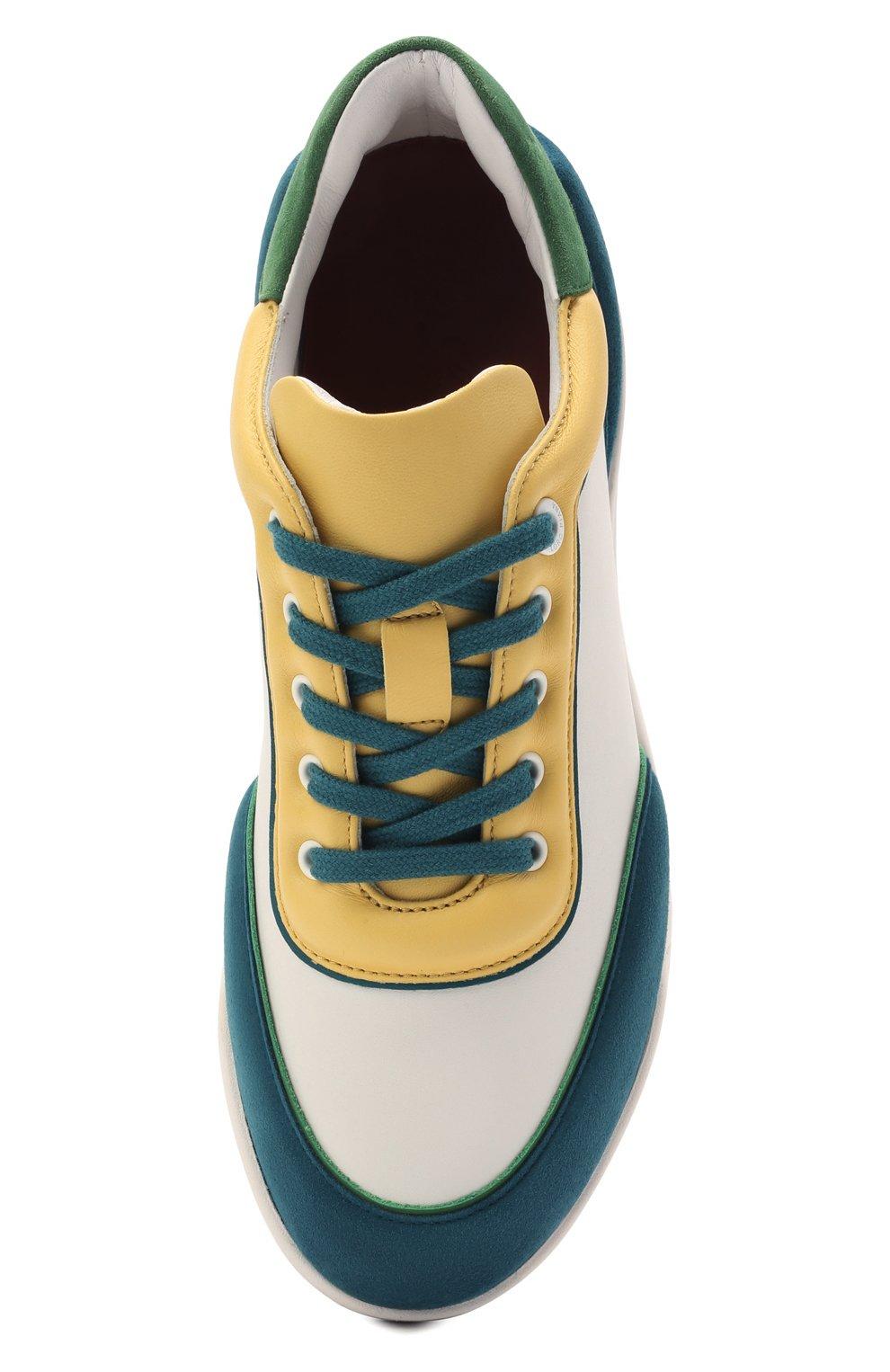 Женские кожаные кроссовки LORO PIANA зеленого цвета, арт. FAL2810   Фото 5