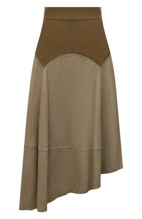 Женская замшевая юбка LOEWE хаки цвета, арт. S540Y20X04 | Фото 1