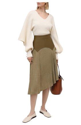 Женская замшевая юбка LOEWE хаки цвета, арт. S540Y20X04 | Фото 2