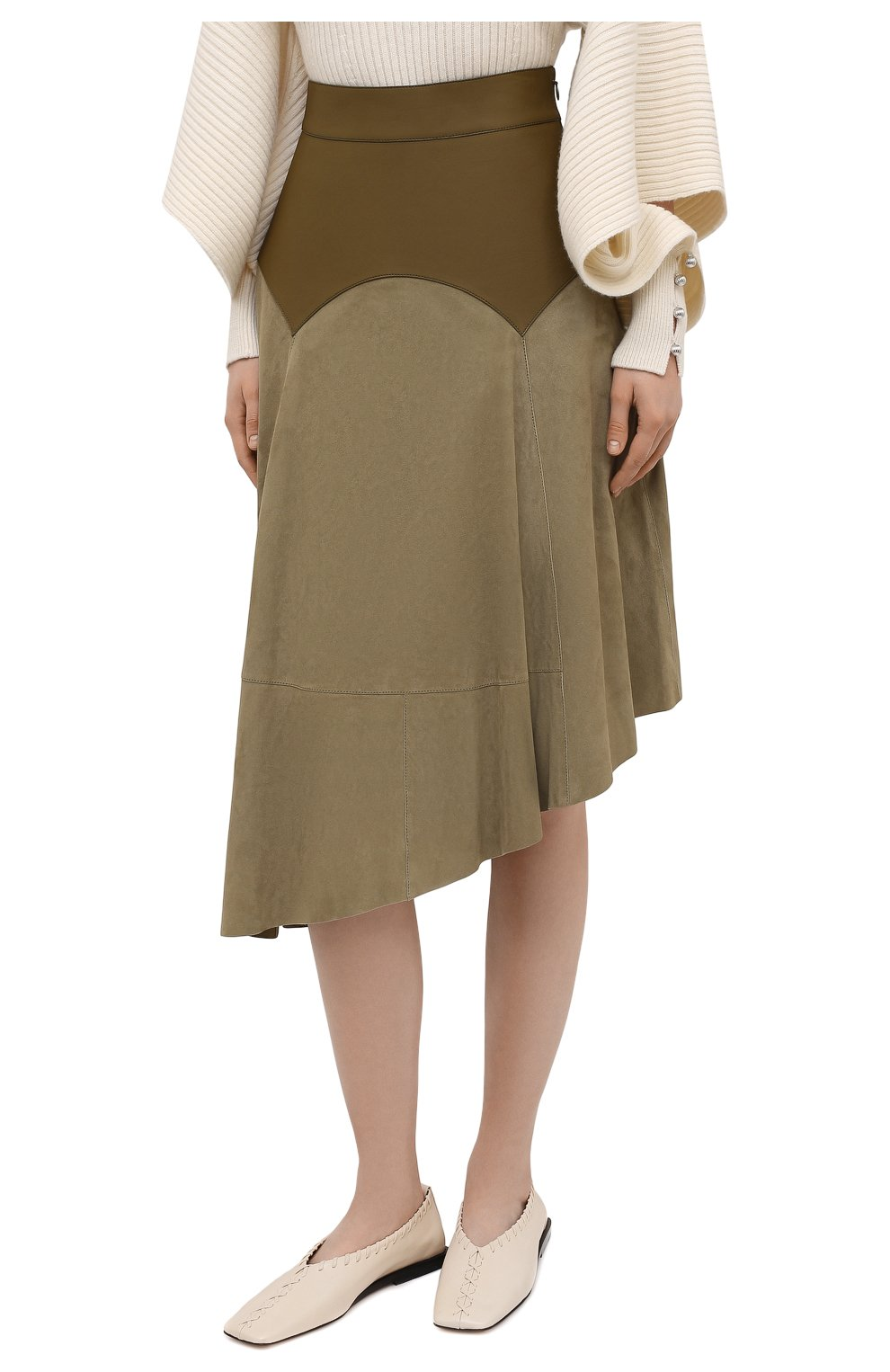 Женская замшевая юбка LOEWE хаки цвета, арт. S540Y20X04 | Фото 3