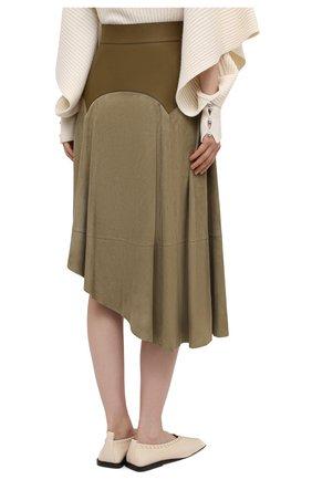 Женская замшевая юбка LOEWE хаки цвета, арт. S540Y20X04 | Фото 4