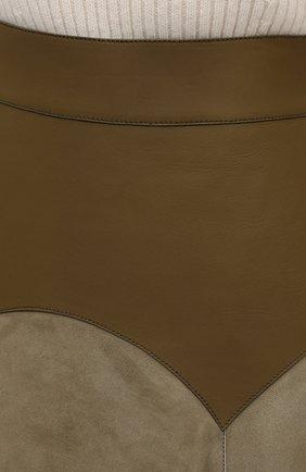 Женская замшевая юбка LOEWE хаки цвета, арт. S540Y20X04 | Фото 5