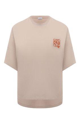 Женская хлопковая футболка LOEWE бежевого цвета, арт. S540Y22X09   Фото 1