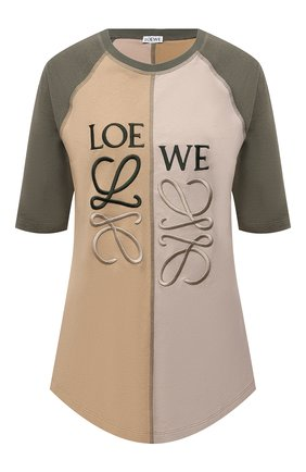 Женская хлопковая футболка LOEWE хаки цвета, арт. S540Y22J02 | Фото 1 (Рукава: Короткие; Длина (для топов): Удлиненные; Материал внешний: Хлопок; Принт: С принтом; Женское Кросс-КТ: Футболка-одежда; Стили: Спорт-шик)