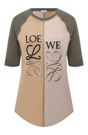 Женская хлопковая футболка LOEWE хаки цвета, арт. S540Y22J02 | Фото 1