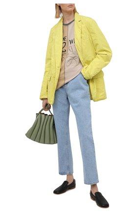 Женская хлопковая футболка LOEWE хаки цвета, арт. S540Y22J02 | Фото 2 (Рукава: Короткие; Длина (для топов): Удлиненные; Материал внешний: Хлопок; Принт: С принтом; Женское Кросс-КТ: Футболка-одежда; Стили: Спорт-шик)