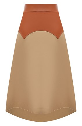 Женская юбка с отделкой из кожи LOEWE бежевого цвета, арт. S540Y20X03 | Фото 1