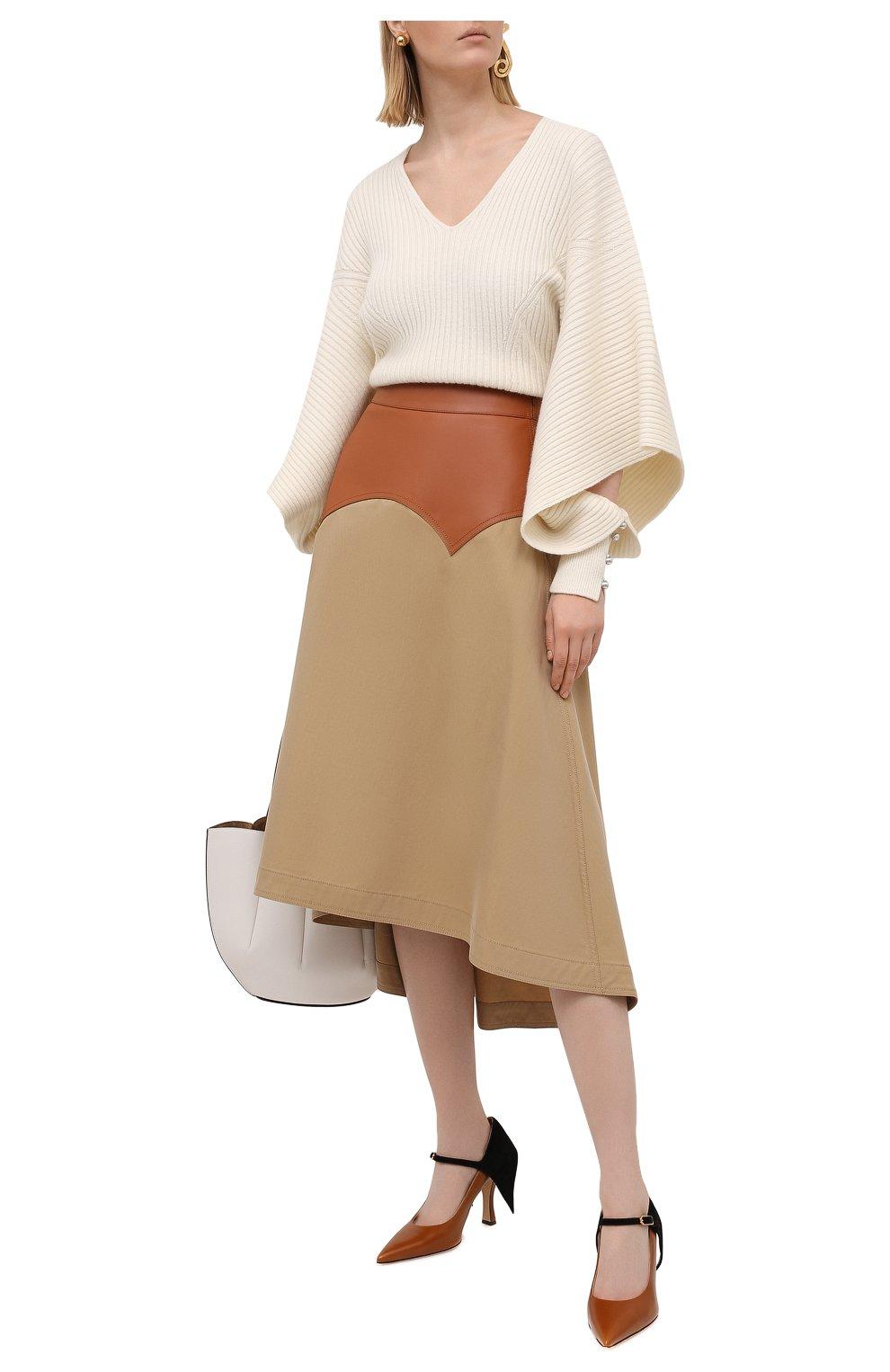 Женская юбка с отделкой из кожи LOEWE бежевого цвета, арт. S540Y20X03   Фото 2