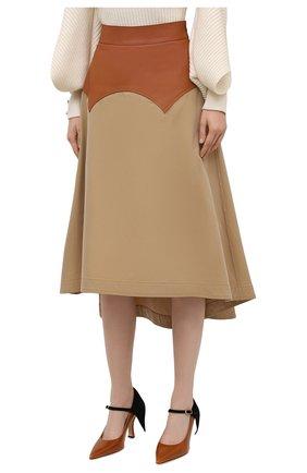 Женская юбка с отделкой из кожи LOEWE бежевого цвета, арт. S540Y20X03   Фото 3