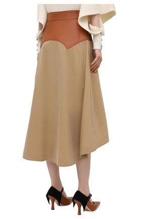 Женская юбка с отделкой из кожи LOEWE бежевого цвета, арт. S540Y20X03   Фото 4