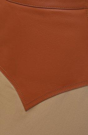 Женская юбка с отделкой из кожи LOEWE бежевого цвета, арт. S540Y20X03   Фото 5