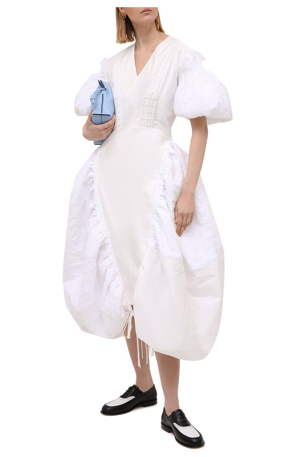 Женское хлопковое платье LOEWE белого цвета, арт. S540Y09XA6 | Фото 2