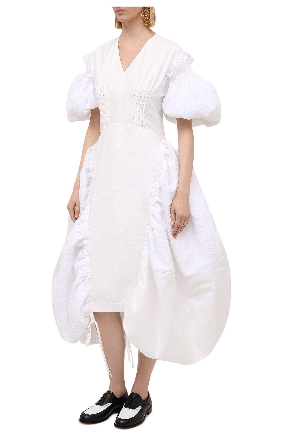 Женское хлопковое платье LOEWE белого цвета, арт. S540Y09XA6 | Фото 3