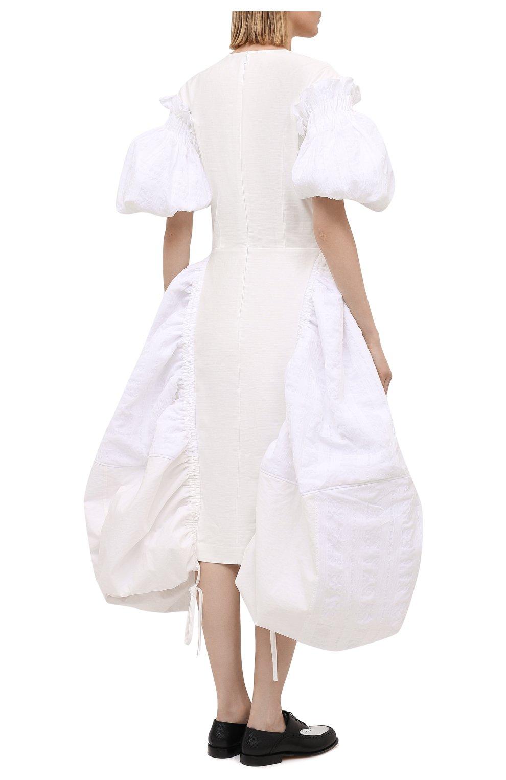 Женское хлопковое платье LOEWE белого цвета, арт. S540Y09XA6 | Фото 4