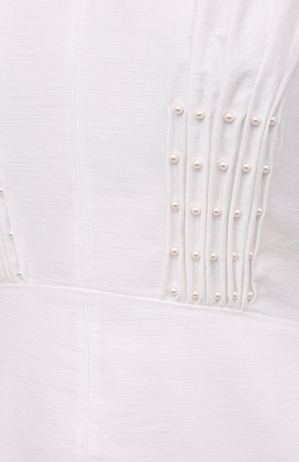 Женское хлопковое платье LOEWE белого цвета, арт. S540Y09XA6 | Фото 5