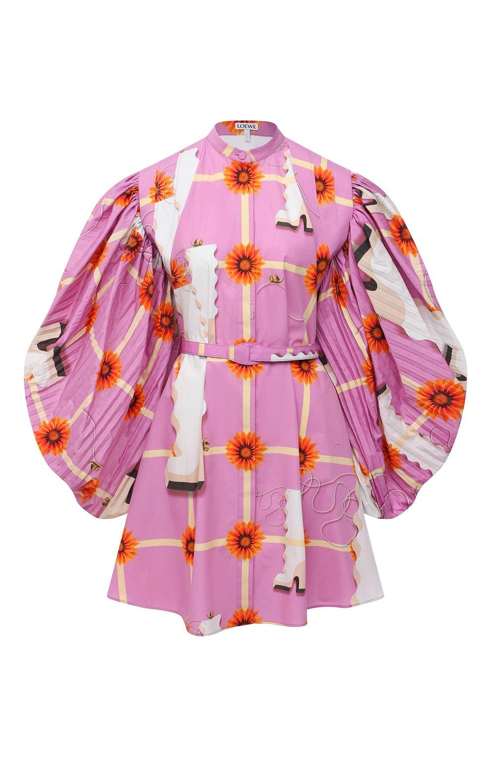 Женское хлопковое платье LOEWE розового цвета, арт. S540Y09XA4   Фото 1