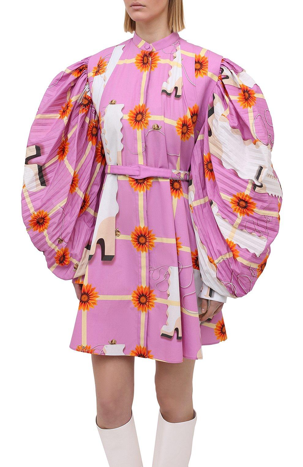 Женское хлопковое платье LOEWE розового цвета, арт. S540Y09XA4   Фото 3