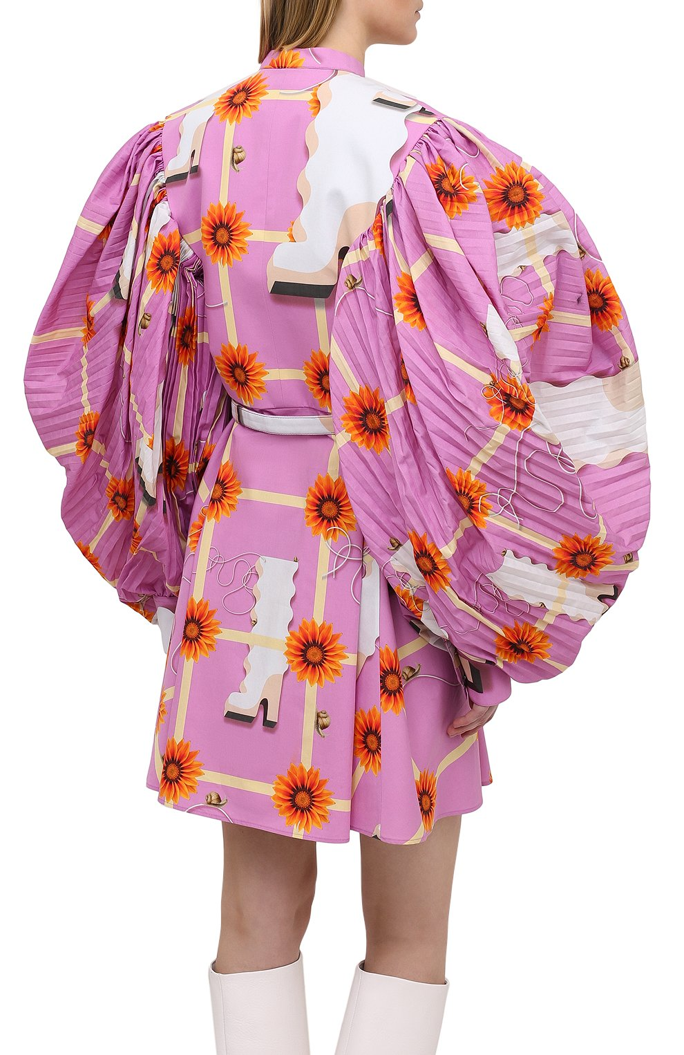 Женское хлопковое платье LOEWE розового цвета, арт. S540Y09XA4   Фото 4