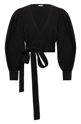 Женская блузка из вискозы и льна LOEWE черного цвета, арт. S540Y07X25 | Фото 1 (Рукава: Длинные; Материал внешний: Вискоза; Длина (для топов): Укороченные; Женское Кросс-КТ: Блуза-одежда; Принт: Без принта; Стили: Романтичный)