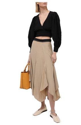 Женская блузка из вискозы и льна LOEWE черного цвета, арт. S540Y07X25 | Фото 2 (Рукава: Длинные; Материал внешний: Вискоза; Длина (для топов): Укороченные; Женское Кросс-КТ: Блуза-одежда; Принт: Без принта; Стили: Романтичный)