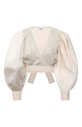 Женская хлопковая блузка LOEWE светло-бежевого цвета, арт. S540Y07W04 | Фото 1 (Длина (для топов): Укороченные; Материал внешний: Хлопок; Рукава: Длинные; Женское Кросс-КТ: Блуза-одежда; Принт: С принтом, Полоска; Стили: Романтичный)