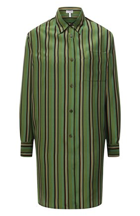 Женская шелковая рубашка LOEWE зеленого цвета, арт. S540Y06X21 | Фото 1