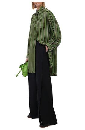 Женская шелковая рубашка LOEWE зеленого цвета, арт. S540Y06X21 | Фото 2