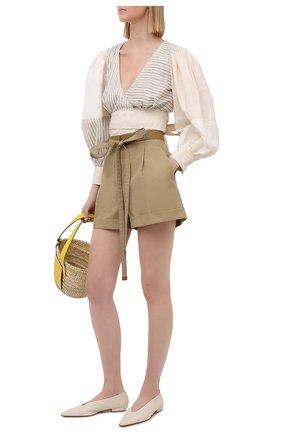 Женские хлопковые шорты LOEWE бежевого цвета, арт. S540Y04X38 | Фото 2