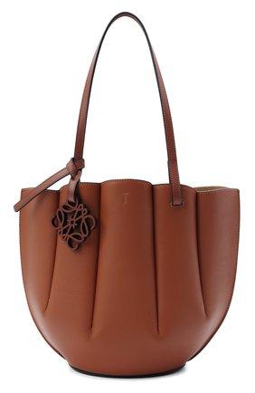 Женский сумка-тоут shell small LOEWE коричневого цвета, арт. A657T33X02 | Фото 1