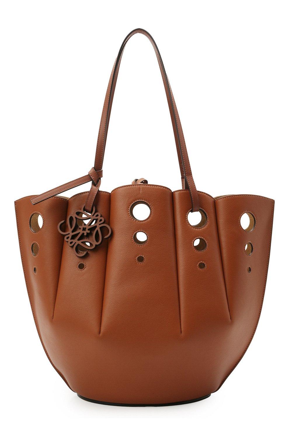 Женский сумка-тоут shell LOEWE коричневого цвета, арт. A657R52X13 | Фото 1 (Сумки-технические: Сумки-шопперы; Ошибки технического описания: Нет ширины; Размер: medium; Материал: Натуральная кожа)