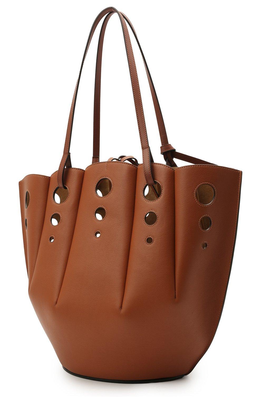 Женский сумка-тоут shell LOEWE коричневого цвета, арт. A657R52X13 | Фото 3 (Сумки-технические: Сумки-шопперы; Ошибки технического описания: Нет ширины; Размер: medium; Материал: Натуральная кожа)