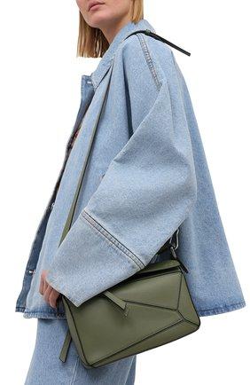 Женская сумка puzzle small LOEWE хаки цвета, арт. 322.30.S21 | Фото 2 (Материал: Натуральная кожа; Сумки-технические: Сумки через плечо, Сумки top-handle; Размер: small; Ремень/цепочка: На ремешке)