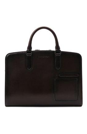 Мужская кожаная сумка для ноутбука ERMENEGILDO ZEGNA темно-коричневого цвета, арт. C1576W-LHC0R | Фото 1
