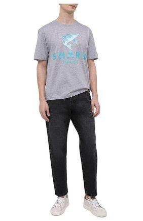 Мужская хлопковая футболка PAUL&SHARK серого цвета, арт. 21411013/C00   Фото 2