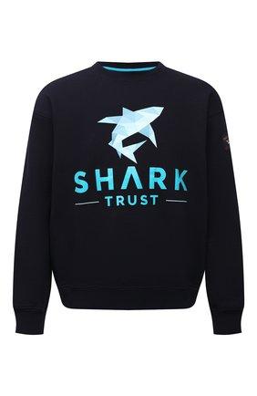 Мужской хлопковый свитшот PAUL&SHARK темно-синего цвета, арт. 21411830/C00 | Фото 1