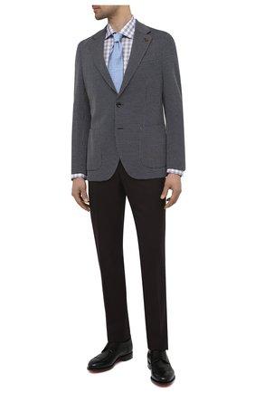 Мужской хлопковый пиджак SARTORIA LATORRE темно-синего цвета, арт. JEF74 JE3174 | Фото 2 (Материал внешний: Хлопок; Длина (для топов): Стандартные; Материал подклада: Вискоза; Рукава: Длинные; Пиджаки М: Прямой; 1-2-бортные: Однобортные; Стили: Классический; Случай: Коктейльный)
