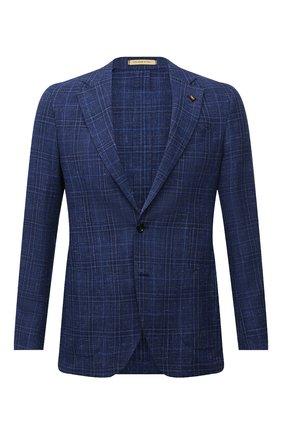 Мужской пиджак из шерсти и шелка SARTORIA LATORRE синего цвета, арт. EF74 Q90837 | Фото 1 (Материал внешний: Шерсть; Рукава: Длинные; Материал подклада: Купро; Длина (для топов): Стандартные; Пиджаки М: Прямой; Случай: Коктейльный; 1-2-бортные: Однобортные; Стили: Классический)