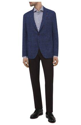 Мужской пиджак из шерсти и шелка SARTORIA LATORRE синего цвета, арт. EF74 Q90837 | Фото 2 (Материал внешний: Шерсть; Рукава: Длинные; Материал подклада: Купро; Длина (для топов): Стандартные; Пиджаки М: Прямой; Случай: Коктейльный; 1-2-бортные: Однобортные; Стили: Классический)
