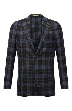Мужской пиджак из шелка и шерсти SARTORIA LATORRE синего цвета, арт. EF74 Q90644 | Фото 1 (Материал подклада: Купро; Материал внешний: Шелк; Длина (для топов): Стандартные; Рукава: Длинные; Пиджаки М: Прямой; Случай: Коктейльный; 1-2-бортные: Однобортные; Стили: Классический)