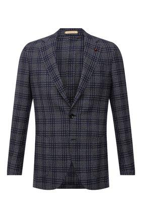 Мужской пиджак из шелка и шерсти SARTORIA LATORRE темно-синего цвета, арт. EF74 Q90634 | Фото 1 (Материал подклада: Купро; Длина (для топов): Стандартные; Материал внешний: Шелк, Шерсть; Рукава: Длинные; Пиджаки М: Прямой; 1-2-бортные: Однобортные; Случай: Коктейльный; Стили: Классический)