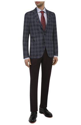 Мужской пиджак из шелка и шерсти SARTORIA LATORRE темно-синего цвета, арт. EF74 Q90634 | Фото 2 (Материал подклада: Купро; Длина (для топов): Стандартные; Материал внешний: Шелк, Шерсть; Рукава: Длинные; Пиджаки М: Прямой; 1-2-бортные: Однобортные; Случай: Коктейльный; Стили: Классический)