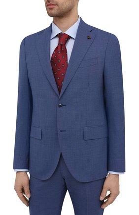 Мужской шерстяной костюм SARTORIA LATORRE синего цвета, арт. A6I7EF Q90134 | Фото 2 (Материал внешний: Шерсть; Рукава: Длинные; Материал подклада: Купро; Костюмы М: Однобортный; Стили: Классический)