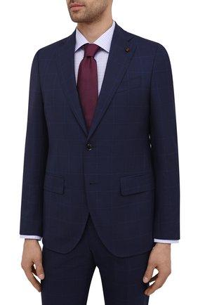 Мужской шерстяной костюм SARTORIA LATORRE темно-синего цвета, арт. A6I7EF Q90113 | Фото 2 (Материал внешний: Шерсть; Рукава: Длинные; Материал подклада: Купро; Костюмы М: Однобортный; Стили: Классический)