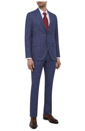 Мужской костюм SARTORIA LATORRE синего цвета, арт. A6I7EF Q70422 | Фото 1 (Материал подклада: Купро; Рукава: Длинные; Материал внешний: Хлопок; Костюмы М: Однобортный; Стили: Классический)