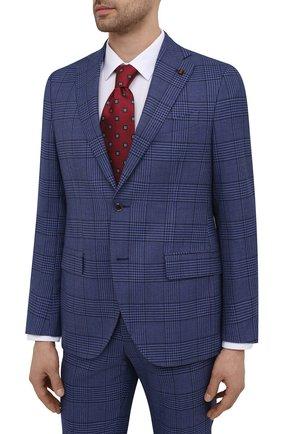 Мужской костюм SARTORIA LATORRE синего цвета, арт. A6I7EF Q70422 | Фото 2 (Материал подклада: Купро; Рукава: Длинные; Материал внешний: Хлопок; Костюмы М: Однобортный; Стили: Классический)