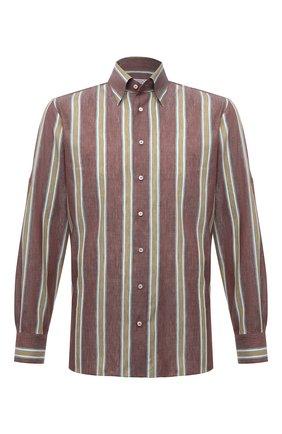 Мужская рубашка изо льна и хлопка ZILLI коричневого цвета, арт. MFV-21087-594/ZS20 | Фото 1
