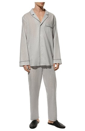 Мужская хлопковая пижама ZIMMERLI светло-серого цвета, арт. 4763-75001 | Фото 2 (Рукава: Длинные; Длина (для топов): Стандартные; Длина (брюки, джинсы): Стандартные; Материал внешний: Хлопок; Кросс-КТ: домашняя одежда)
