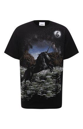 Мужская хлопковая футболка BURBERRY черного цвета, арт. 8037005 | Фото 1 (Длина (для топов): Стандартные; Материал внешний: Хлопок; Рукава: Короткие; Принт: С принтом; Стили: Кэжуэл)