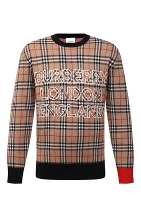 Мужской свитер из шерсти и хлопка BURBERRY бежевого цвета, арт. 8038621 | Фото 1